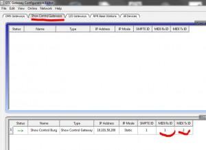 MIDI Einstellungen im Gateway Configuration Editor